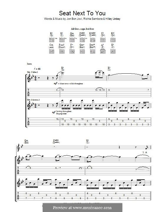 Seat Next to You (Bon Jovi): Гитарная табулатура by Hillary Lindsey, Jon Bon Jovi, Richie Sambora