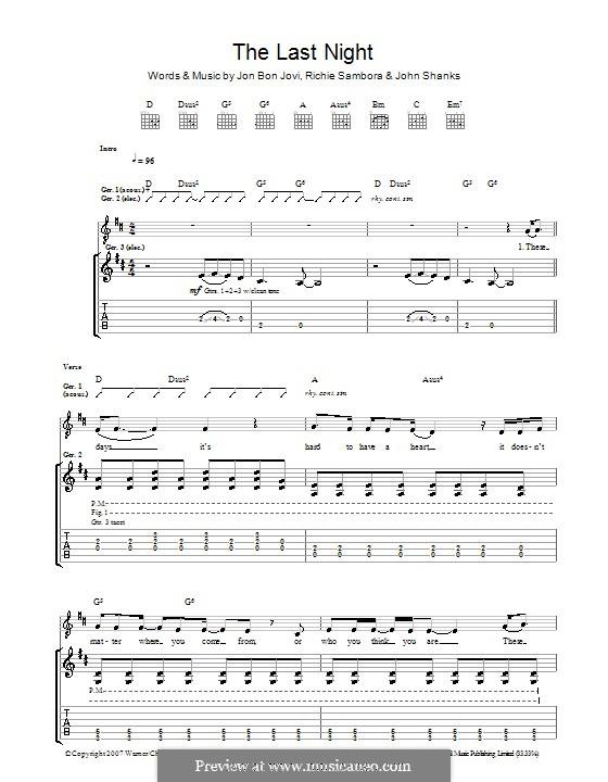 The Last Night (Bon Jovi): Гитарная табулатура by John M Shanks, Jon Bon Jovi, Richie Sambora