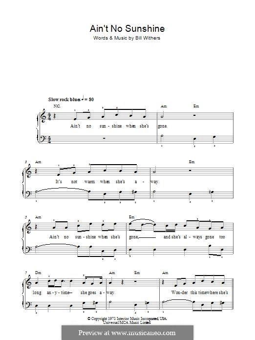 Ain't No Sunshine: Для фортепиано (легкий уровень) by Bill Withers