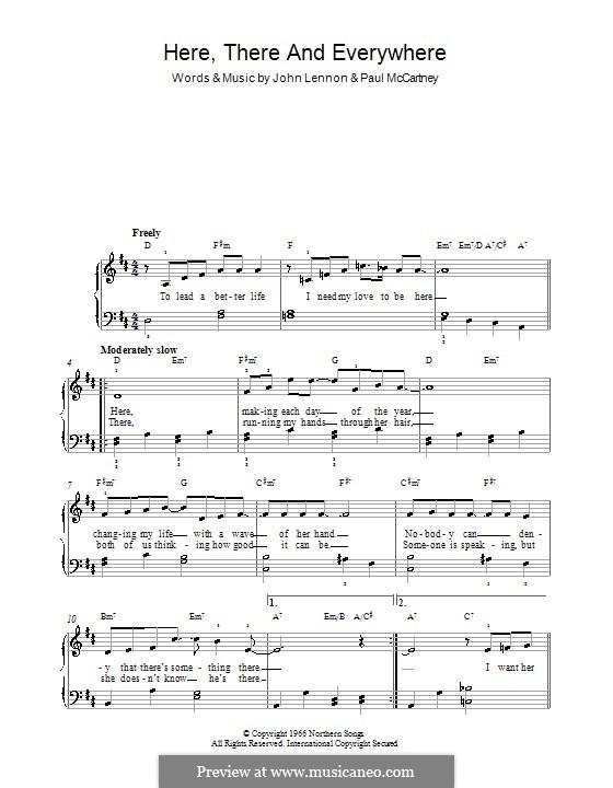 Here, There and Everywhere (The Beatles): Для фортепиано (легкий уровень) (с текстом) by John Lennon, Paul McCartney