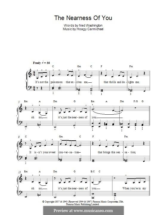 The Nearness of You: Для фортепиано (легкий уровень) (Norah Jones) by Hoagy Carmichael