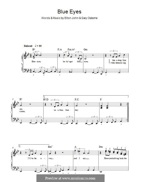 Blue Eyes: Для фортепиано (легкий уровень) by Elton John, Gary Osborne