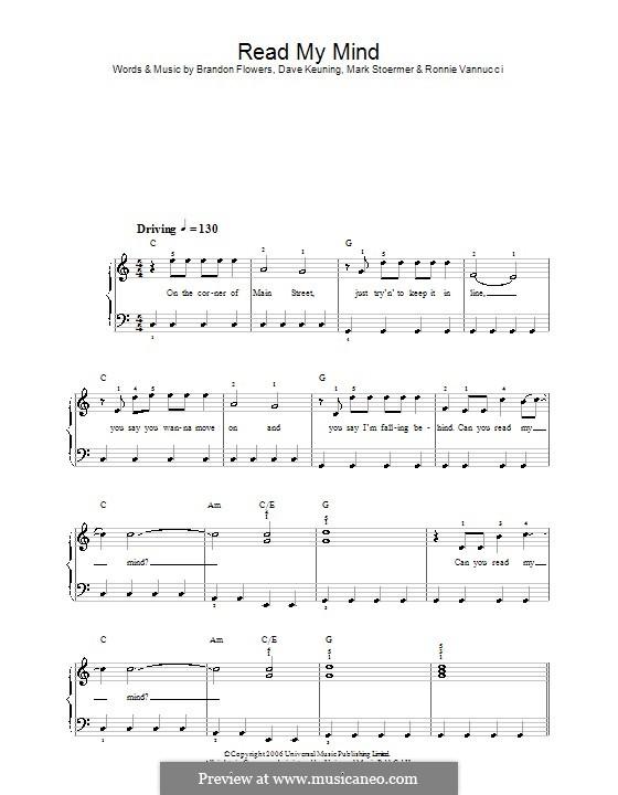 Read My Mind (The Killers): Для фортепиано (легкий уровень) by Brandon Flowers, Dave Keuning, Mark Stoermer, Ronnie Vannucci