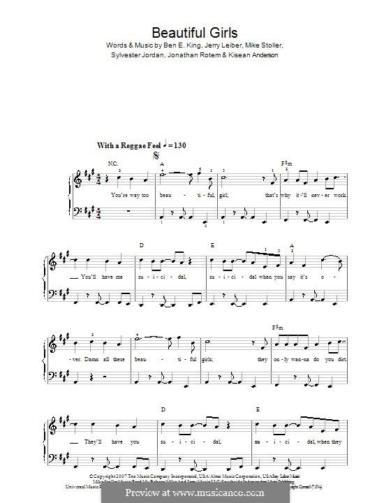 Beautiful Girls (Sean Kingston): Для начинающего пианиста by Ben E. King, Jerry Leiber, Jonathan Rotem, Kisean Anderson, Mike Stoller, Sylvester Jordan