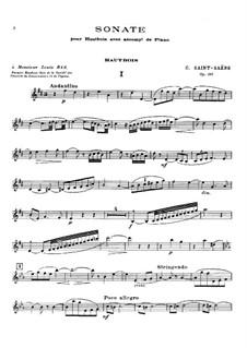 Соната для гобоя и фортепиано ре мажор, Op.166: Партитура, сольная партия by Камиль Сен-Санс