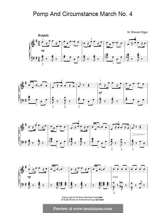 Марш No.4: Для фортепиано (легкий уровень) by Эдуард Элгар