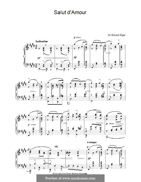 Любовное приветствие, Op.12: Для фортепиано by Эдуард Элгар