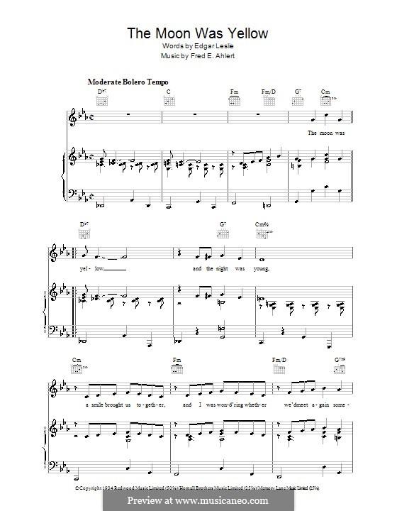 The Moon Was Yellow (Edgar Leslie): Для голоса и фортепиано (или гитары) by Fred E. Ahlert
