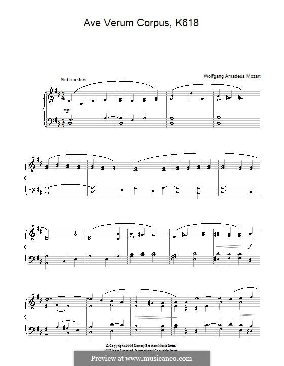 Ave verum corpus (Printabel Scores), K.618: Для фортепиано (легкий уровень) by Вольфганг Амадей Моцарт