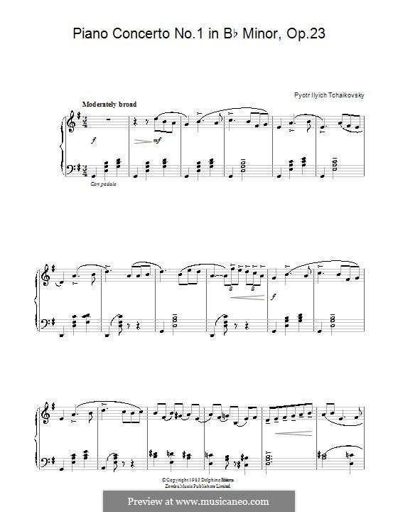 Концерт для фортепиано с оркестром No.1 си-бемоль минор, TH 55 Op.23: Часть I (Тема). Версия для начинающего пианиста by Петр Чайковский