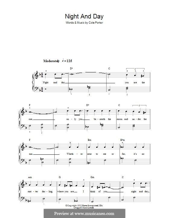 Night and Day (Frank Sinatra): Для фортепиано (легкий уровень) by Кол Портер