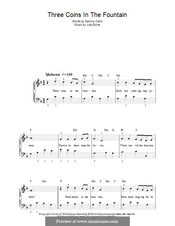 Three Coins in the Fountain (Frank Sinatra): Для фортепиано (легкий уровень) by Jule Styne