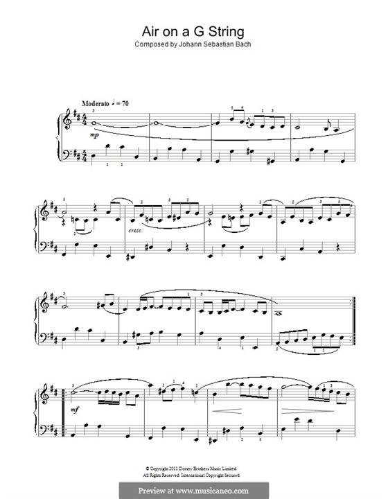 Aria (Printable Scores): Версия для начинающего пианиста by Иоганн Себастьян Бах