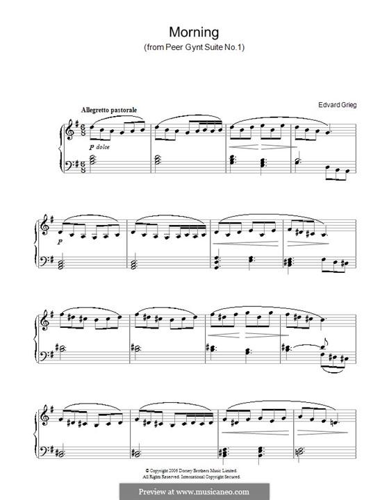 Сюита No.1. Утро, Op.46 No.1: Для фортепиано (легкий уровень) by Эдвард Григ