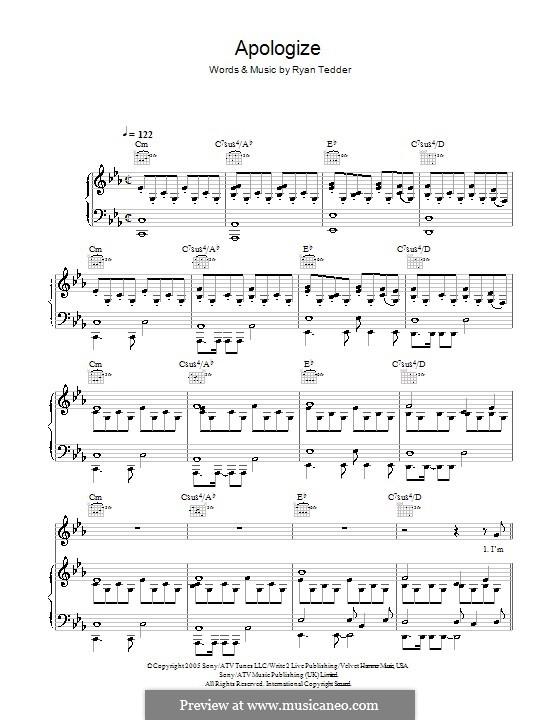 Apologize (OneRepublic): Для голоса и фортепиано или гитары by Ryan B Tedder