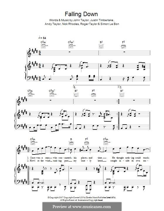 Falling Down (Duran Duran): Для голоса и фортепиано (или гитары) by Andy Taylor, John Taylor, Justin Timberlake, Nick Rhodes, Roger Taylor, Simon Le Bon