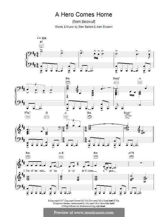A Hero Comes Home (from Beowulf): Для голоса и фортепиано или гитары (Indina Menzel) by Alan Silvestri, Glen Ballard