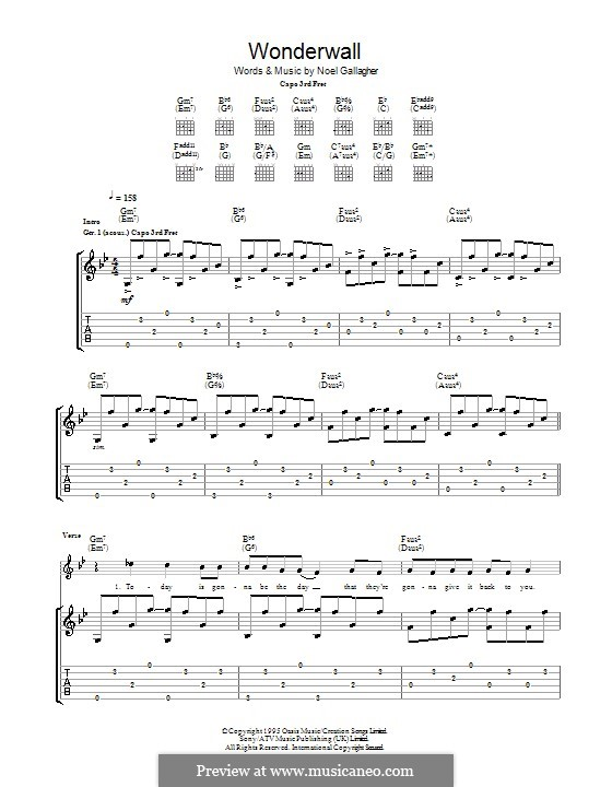 Wonderwall (Oasis): Гитарная табулатура (G Minor) by Noel Gallagher