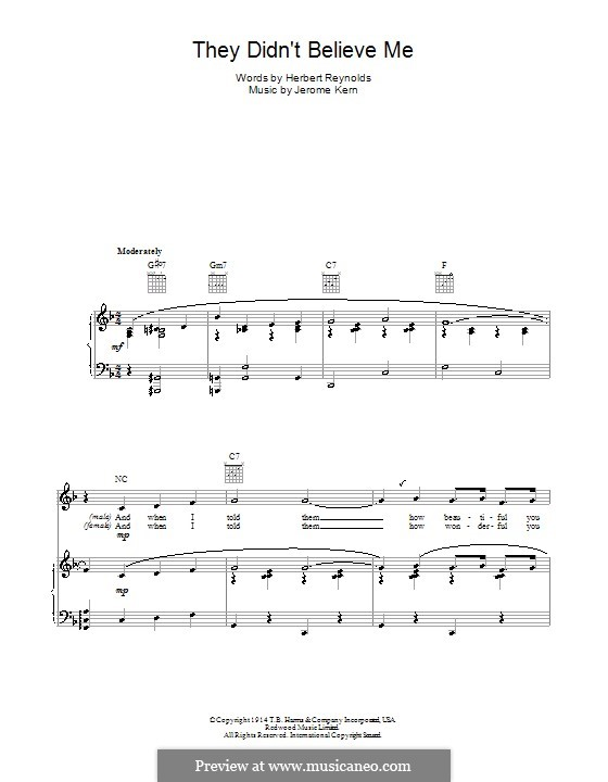 They didn't Believe Me: Для голоса и фортепиано (или гитары) by Джером Керн