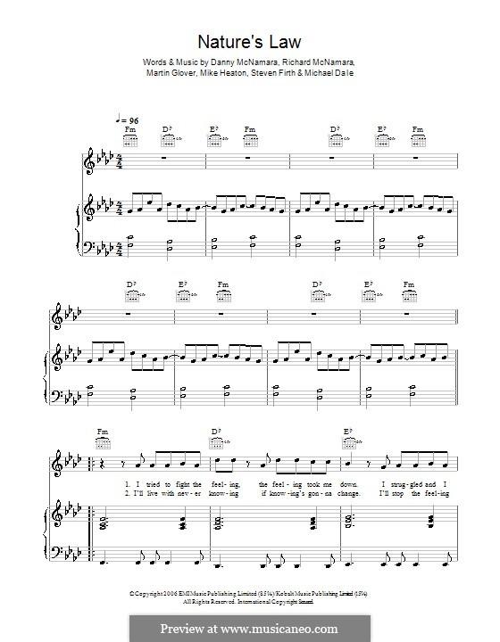 Nature's Law (Embrace): Для голоса и фортепиано (или гитары) by Danny McNamara, Martin Glover, Michael Dale, Mike Heaton, Richard McNamara, Steven Firth