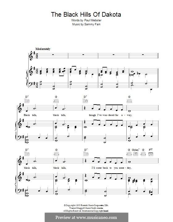 The Black Hills of Dakota: Для голоса и фортепиано (или гитары) by Sammy Fain