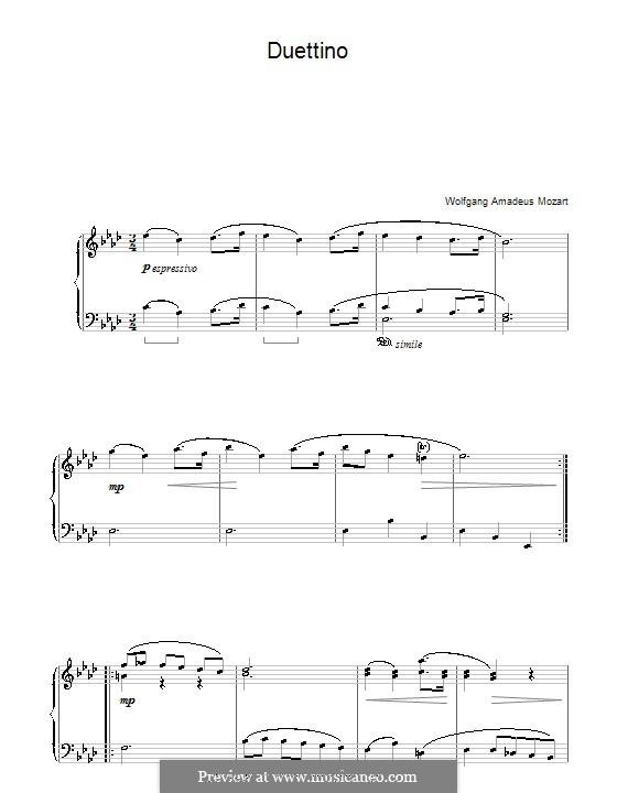 Дуэттино для фортепиано: Дуэттино для фортепиано by Вольфганг Амадей Моцарт