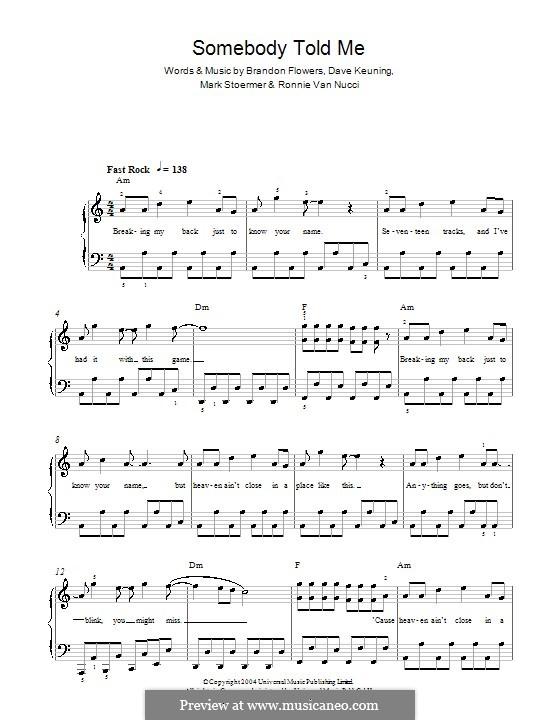 Somebody Told Me (The Killers): Для фортепиано (легкий уровень) by Brandon Flowers, Dave Keuning, Mark Stoermer, Ronnie Vannucci
