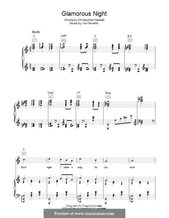 Glamorous Night: Для голоса и фортепиано (или гитары) by Christopher Hassall