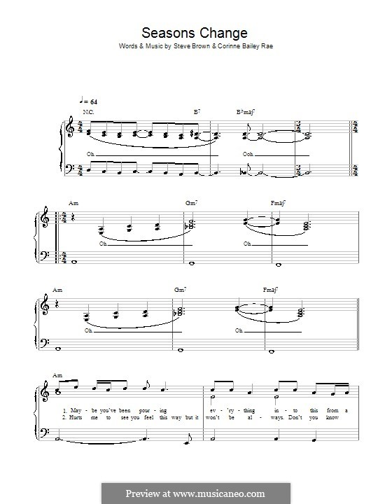 Seasons Change (Corinne Bailey Rae): Для фортепиано (легкий уровень) by Steve Brown