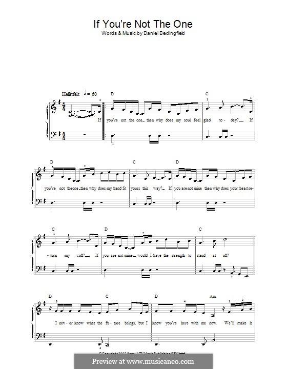 If You're Not The One: Для фортепиано (легкий уровень) by Daniel Bedingfield