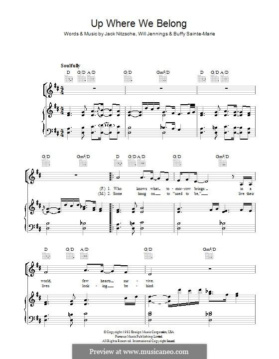 Up Where We Belong (Joe Cocker and Jennifer Warnes): Для голоса и фортепиано (или гитары) by Buffy Sainte-Marie, Jack Nitzsche, Will Jennings