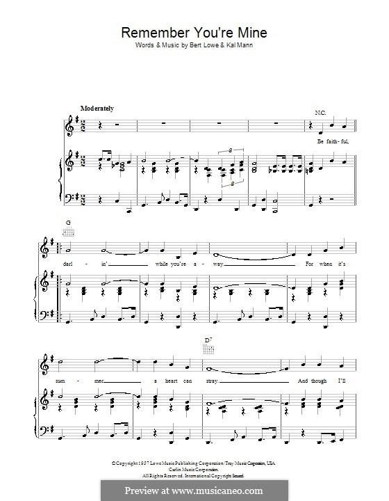 Remember You're Mine: Для голоса и фортепиано (или гитары) by Kal Mann