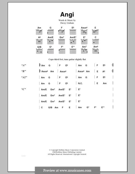Angi: Текст, аккорды by Davey Graham