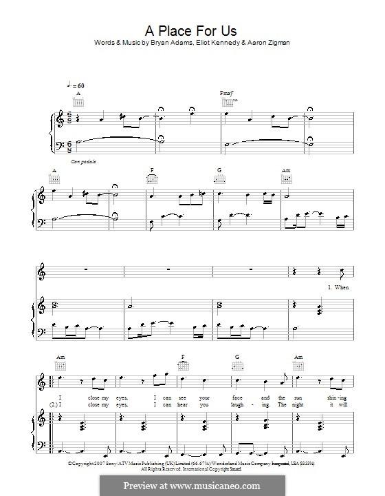 A Place for Us (Leigh Nash): Для голоса и фортепиано (или гитары) by Aaron Zigman, Bryan Adams, Eliot Kennedy