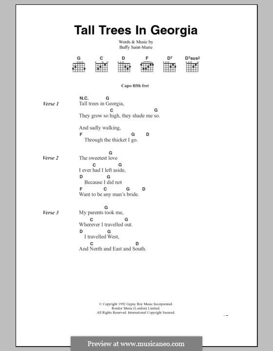 Tall Trees in Georgia: Текст и аккорды by Buffy Sainte-Marie