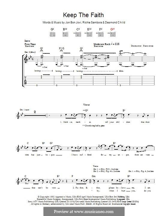 Keep the Faith (Bon Jovi): Гитарная табулатура by Desmond Child, Jon Bon Jovi, Richie Sambora