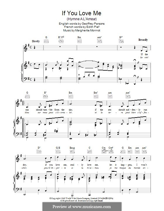 If You Love Me (I Won't Care): Для голоса и фортепиано (или гитары) by Marguerite Monnot