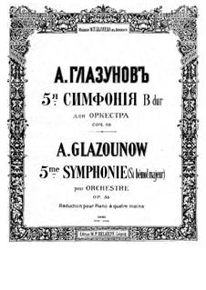 Симфония No.5 си-бемоль мажор, Op.55: Для фортепиано в 4 руки – партии by Александр Глазунов