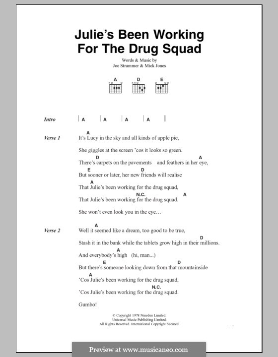 Julie's Been Working for the Drug Squad (The Clash): Текст, аккорды by Joe Strummer, Mick Jones