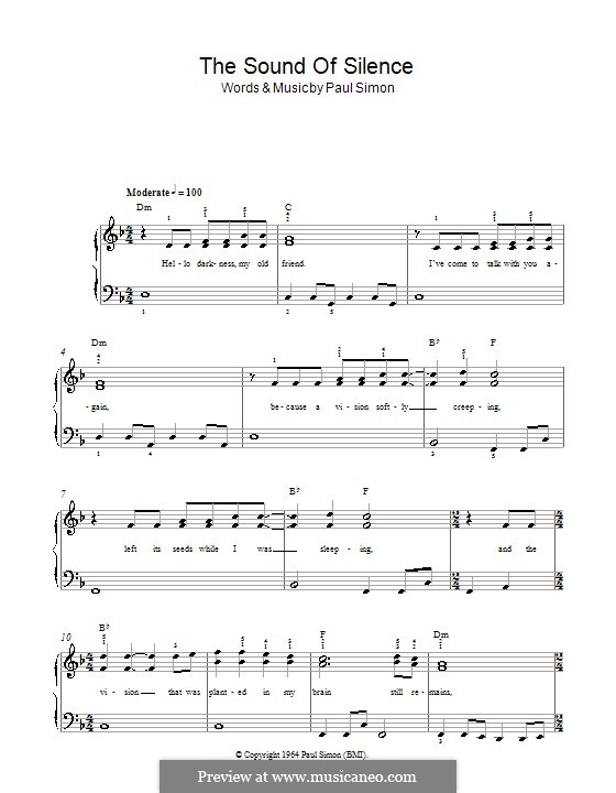 The Sound of Silence (Simon & Garfunkel): Для фортепиано (легкий уровень) by Paul Simon