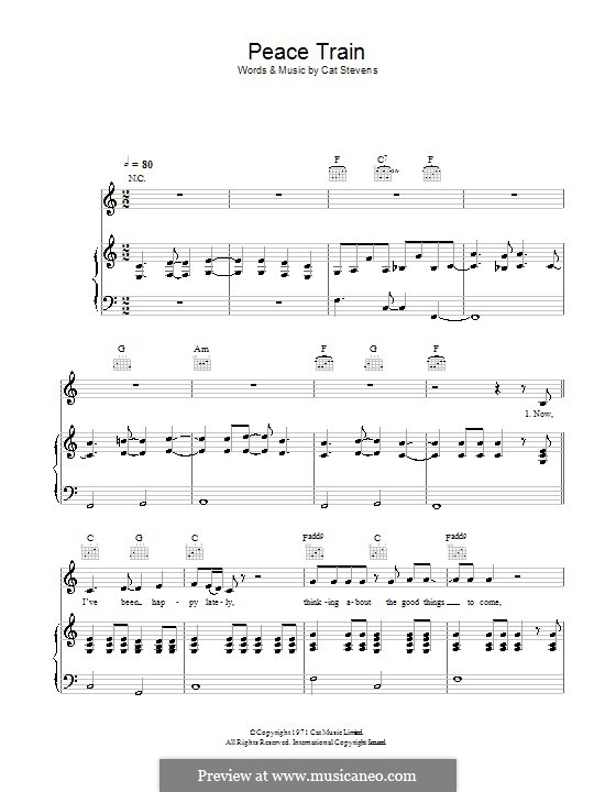 Peace Train: Для голоса и фортепиано (или гитары) by Cat Stevens