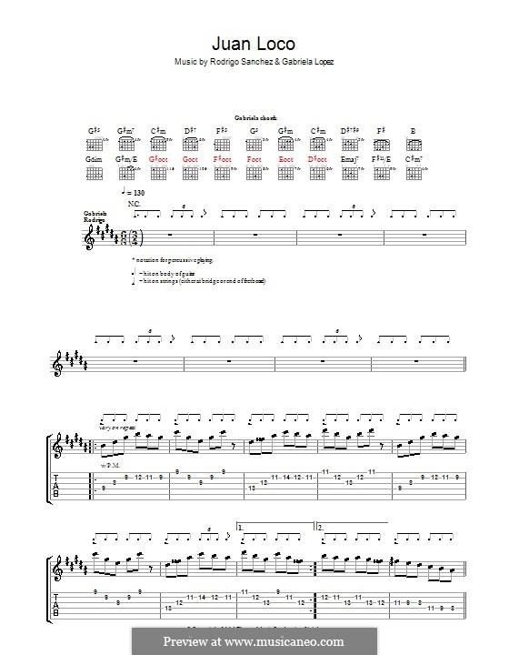 Juan Loco: Для гитары с табулатурой by Gabriela Lopez, Rodrigo Sánchez