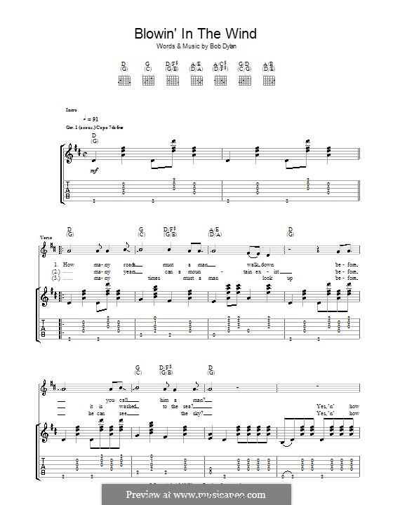 Blowin' in the Wind: Гитарная табулатура by Bob Dylan