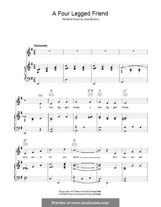 A Four Legged Friend: Для голоса и фортепиано (или гитары) by Jack Brooks