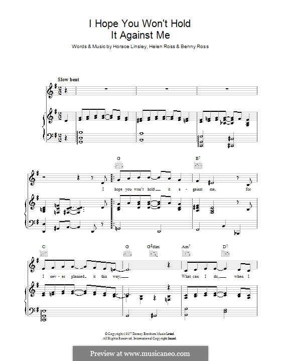 I Hope You Won't Hold It Against Me (Benny Ross): Для голоса и фортепиано (или гитары) by Helen Ross, Horace Linsley