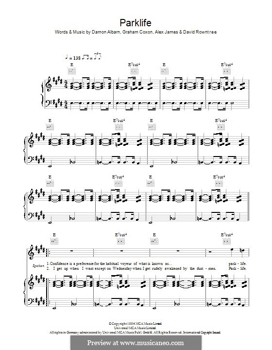 Parklife (Blur): Для голоса и фортепиано (или гитары) by Alex James, Damon Albarn, David Rowntree, Graham Coxon