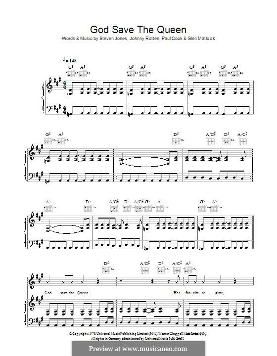 God Save the Queen (The Sex Pistols): Для голоса и фортепиано (или гитары) by Stephen Jones, Glen Matlock, Johnny Rotten, Paul Thomas Cook