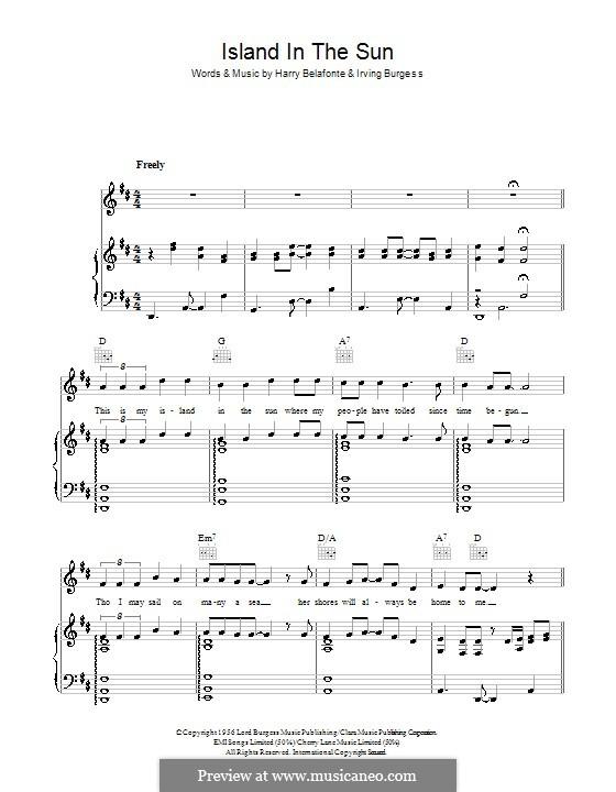 Island in the Sun (Harry Belafonte): Для голоса и фортепиано (или гитары) by Irving Burgie