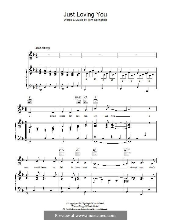 Just Loving You: Для голоса и фортепиано (или гитары) by Tom Springfield
