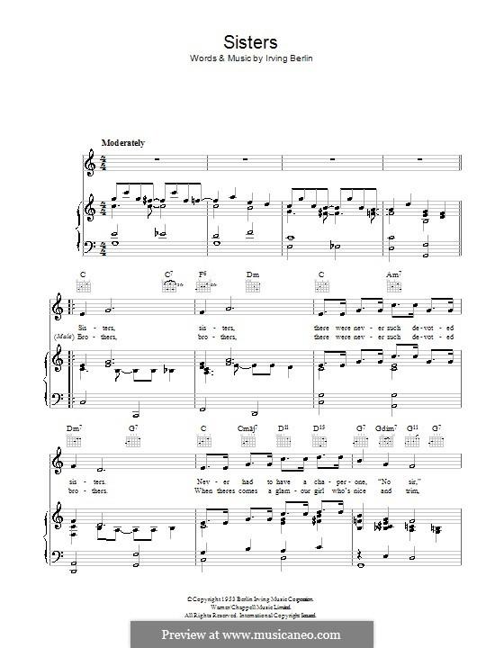 Sisters: Для голоса и фортепиано (или гитары) by Ирвинг Берлин
